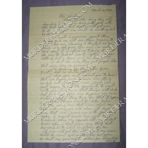 HENRY LEE LUCAS letter/envelope 3/10/1992 DECEASED