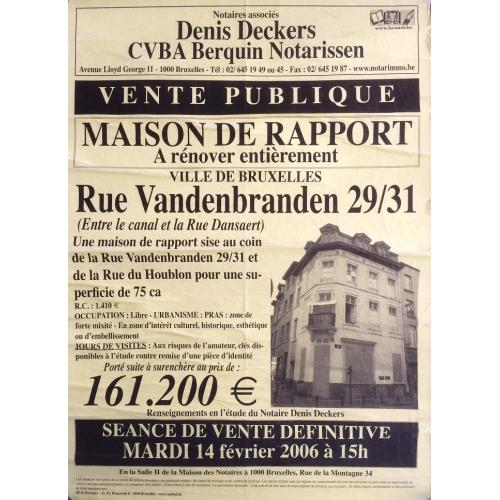 DECEASED BELGIAN SERIAL KILLER ANDRAS PANDY HOUSE FOR SALE ADD POSTER STRAIGHT FROM ONE OF HIS HOUSES RARE! - FREE SHIPPING WORLDWIDE