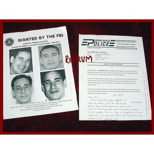 Andrew Cunannan original FBI poster and flyer to detective Boza original from his file from1997