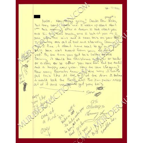 tommy lynn sells letter envelope 12 19 2000 executed murder auction