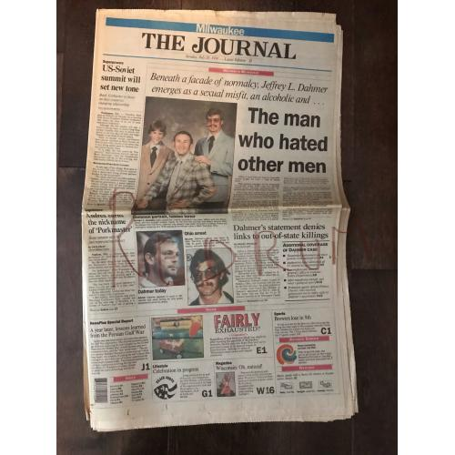 Jeffrey Dahmer The Journal complete Milwaukee newspaper July 28, 1991
