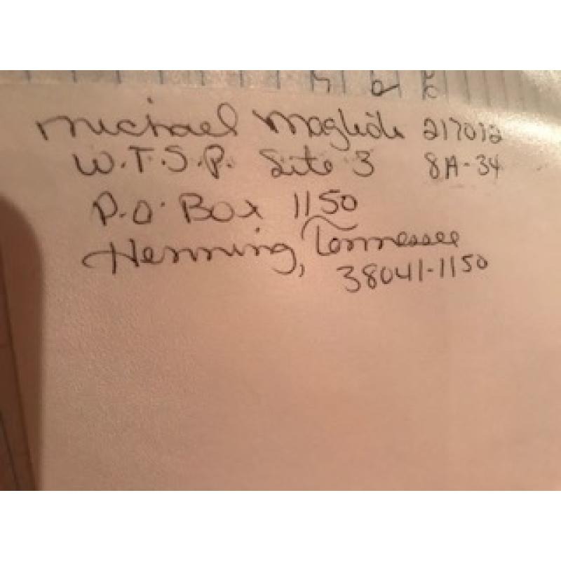 Michael Magliolo handwritten envelope with numerous lines penned by him from 2007