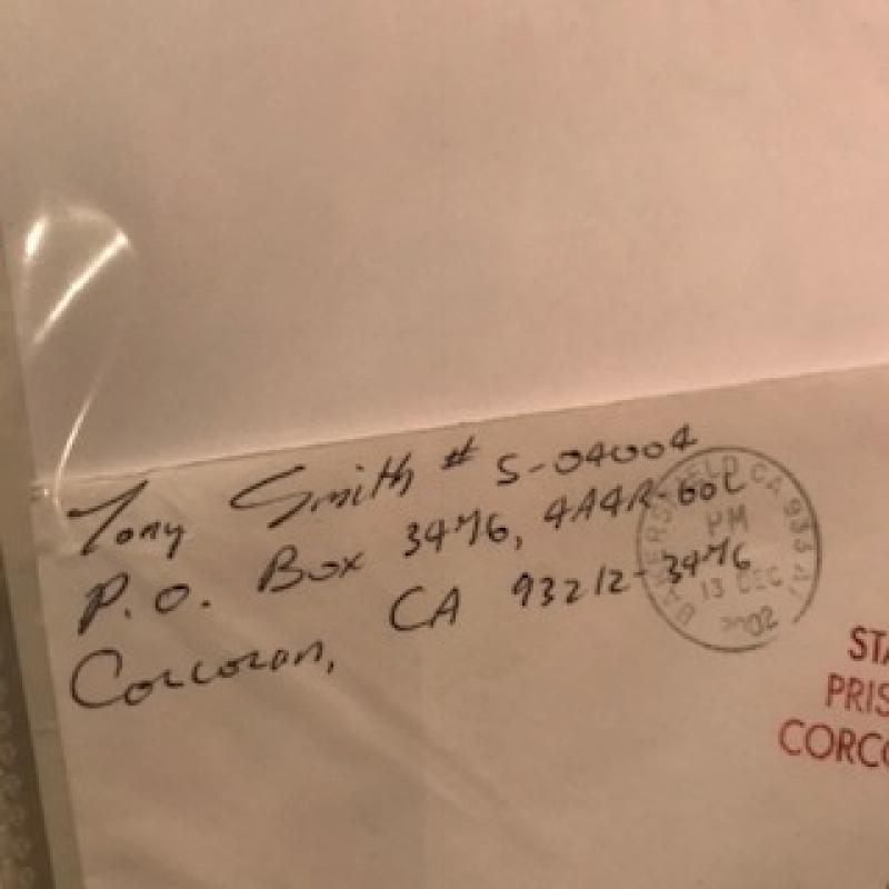 Tony Smith handwritten letter envelope from Corcoran Prison from 2002