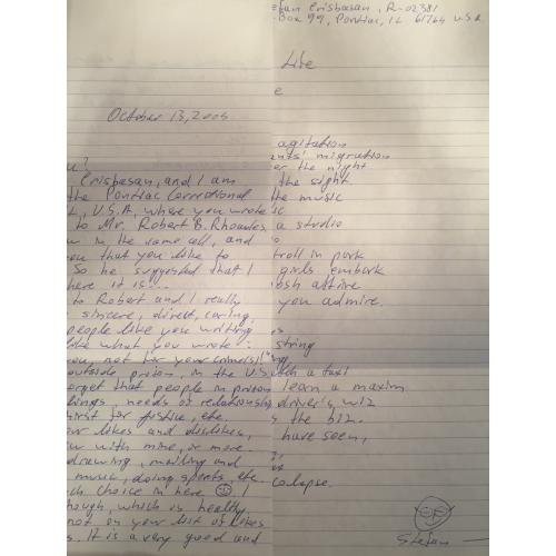 HANDWRITTEN ENVELOPE FROM SERIAL KILLER ROBERT BEN RHOADES HANDWRITTEN 2 PAGE LETTER STEFAN CRISBASAN