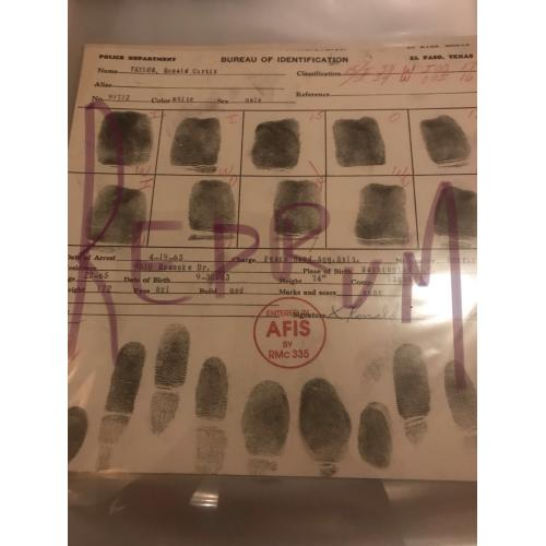 Ronald Curtis Taylor original fingerprint chart And l Paso Texas from 1965