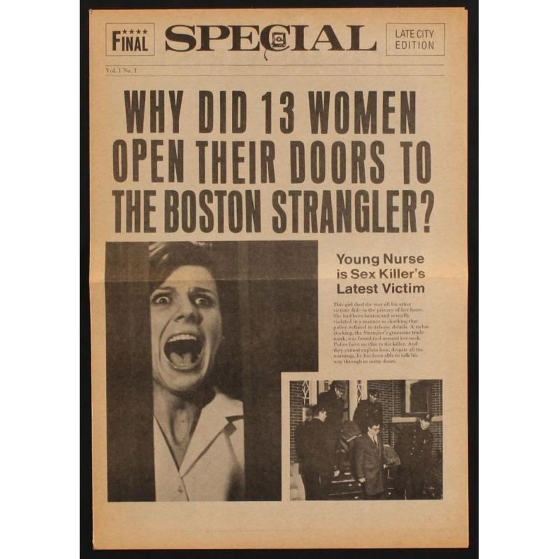Boston Strangler movie Newspaper of the movie with Tony Curtis and Henry Fonda from 1968