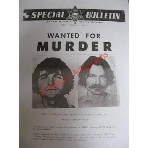 Bruce Davis PoliceSpecial  Bulletin on 8.5 x 11 from Los Angeles County Sheriff's Department