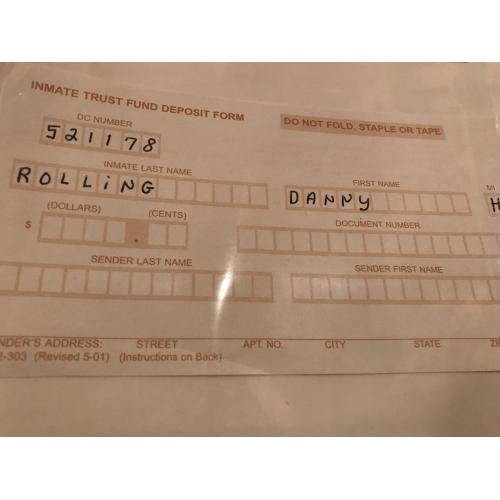 Executed - Danny rolling article with original trust fund slip from 2006