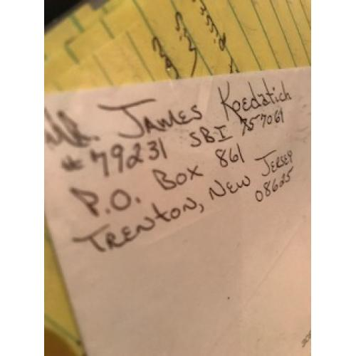 James Koedatich handwritten envelope with numerous lines penned by him from 2008