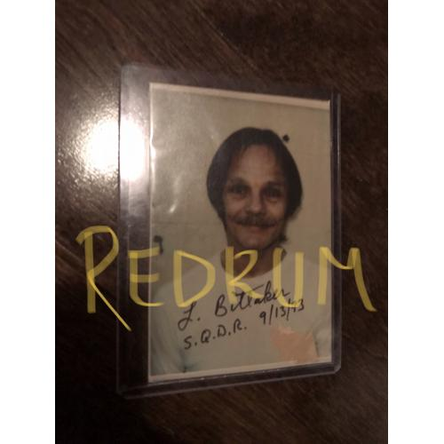 Lawrence Bittaker original prison photograph with paint chip from his cell wall from 1993