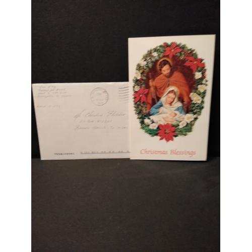 JOHN W KING HAND SIGNED ENVELOPE WITH SIGNED CHRISTMAS CARD.