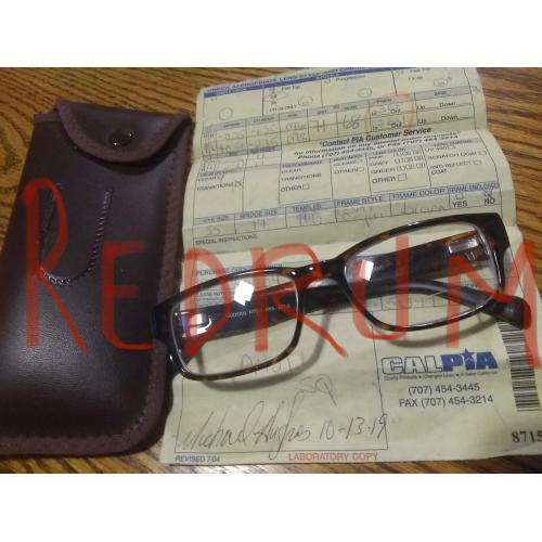 Michael Hughes prison glasses with case and picture of him wearing them 2019