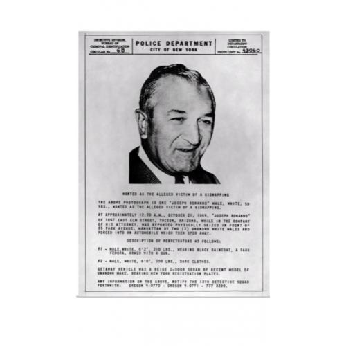 Joseph Bonanno 4 x 6 kidnapping poster add posted by New York police Department from 1964