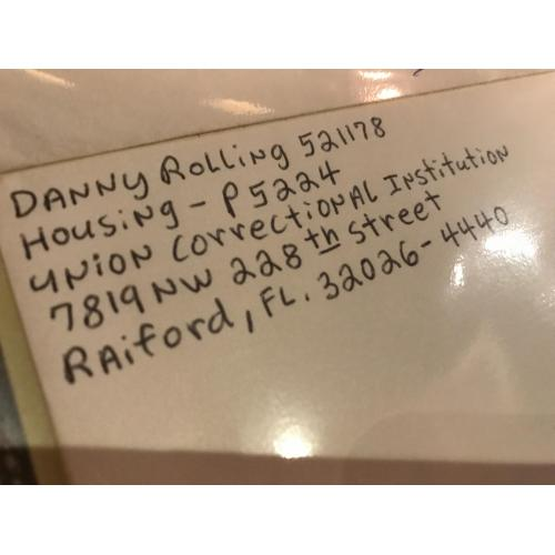 Executed - Danny Rolling handwritten envelope with 8 lines penned by him from 2003