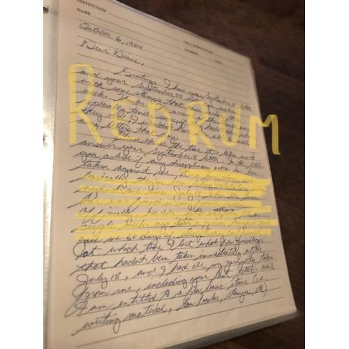 Theodore Robert Bundy very important handwritten 4 pages Letter talking about a third but failed escape attempt from 1984