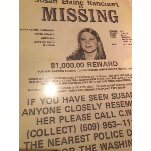 Susan Elaine Rancourt missing poster and Reward from 1973