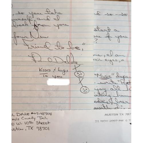 SPREE KILLER PAUL DEVOE 2 PAGE HANDWRITTEN LETTER/ENVELOPE SET FROM JAIL