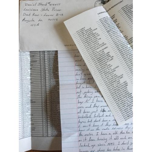SERIAL KILLER DANIEL BLANK HANDWRITTEN LETTER/ENVELOPE SET INC CANTEEN PAPERS