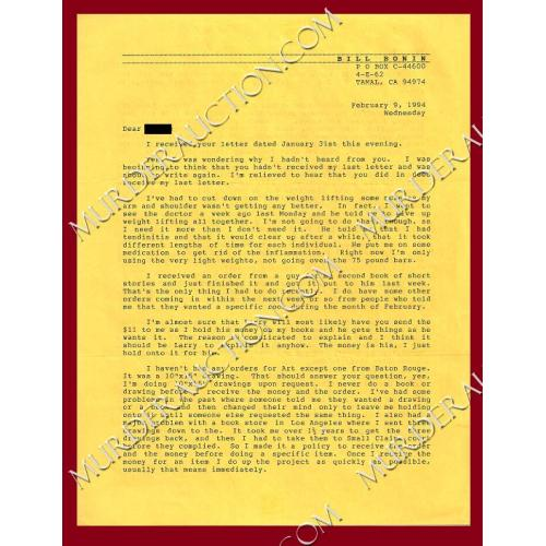 WILLIAM BONIN letter 2/9/1994 EXECUTED