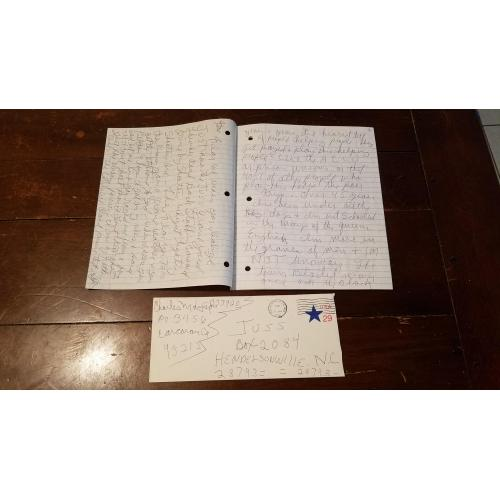 Epic 8 Page Charles Manson Signed Letter from Prison w/ signed envelope.