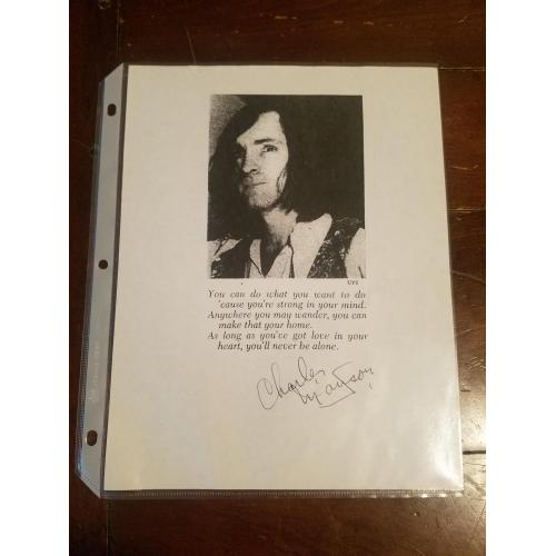 Charles Manson Hand Signed Photo printout. Nice big, clear autograph
