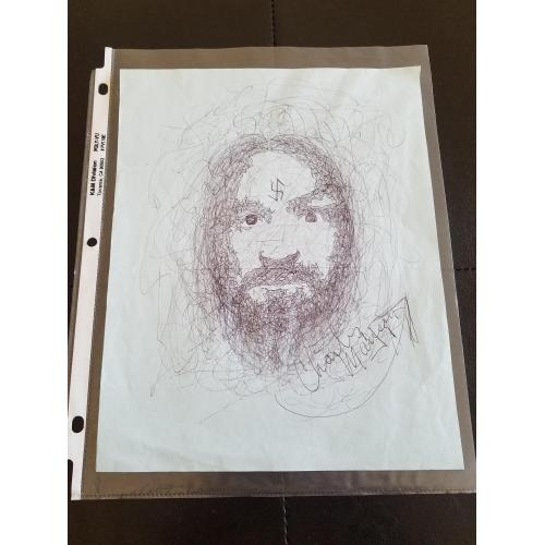 Charles Manson Hand Signed, Hand Drawn Self Portrait from Prison!