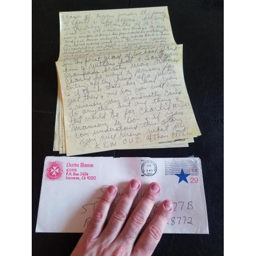 Epic 8 Page Charles Manson Signed Letter from Prison w/ Custom stamped envelope.