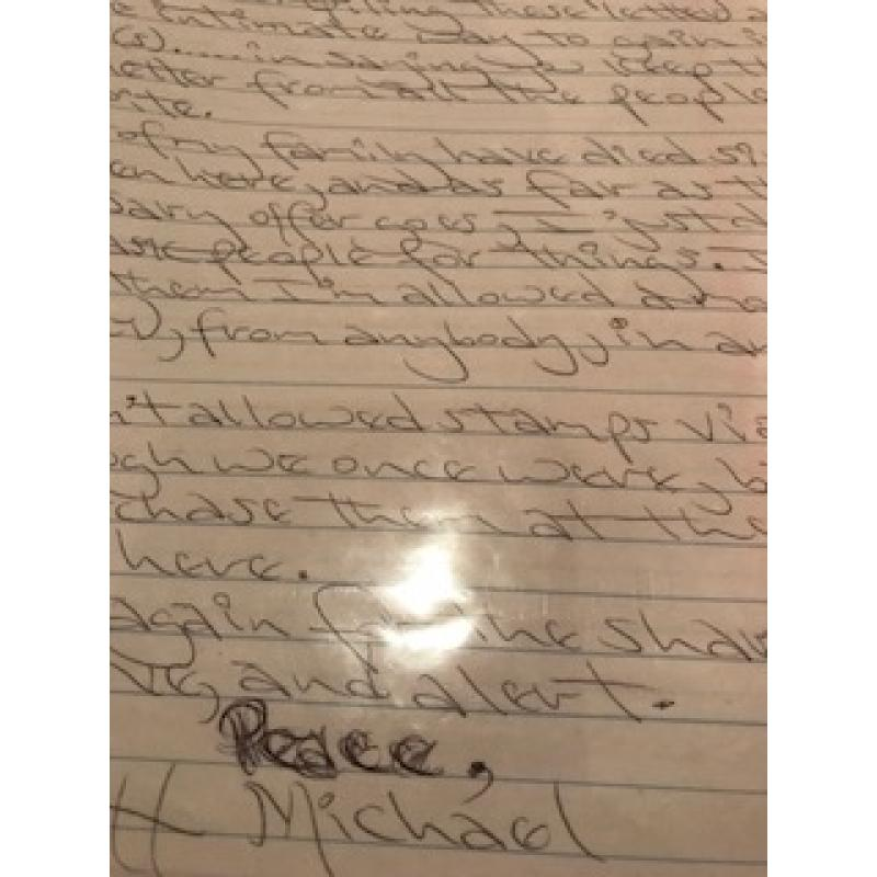 Executed - Carlton Michael Gary handwritten 2 p. Letter with the original envelope from 2002