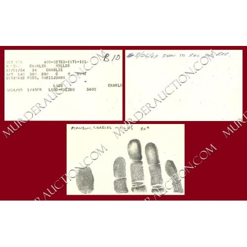 Charles Manson early arrest/fingerprint documents 8/24/1969 DECEASED