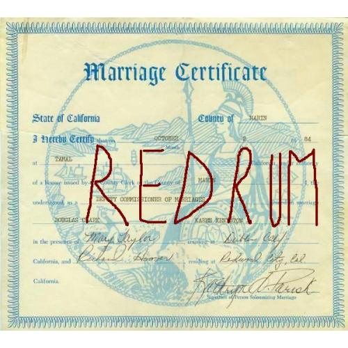 Douglas Clark original signed marriage certificate from October 1984
