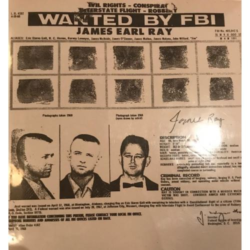 James Earl Ray wanted by the FBI poster from 1968