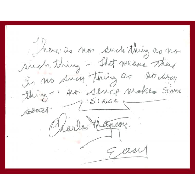 CHARLES MANSON unique greeting card/envelope DECEASED