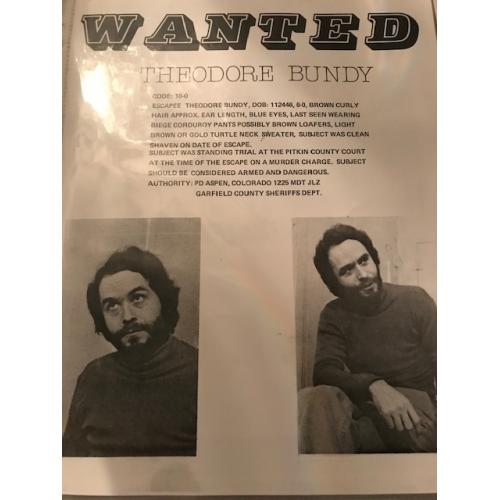 Theodore Bundy wanted 8.5 x 11 poster issued by Garfield county in 1977