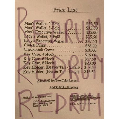 Deceased - Jerome Brudos list of possible crafted items in leather from Oregon State Pennitentiary from early 2000