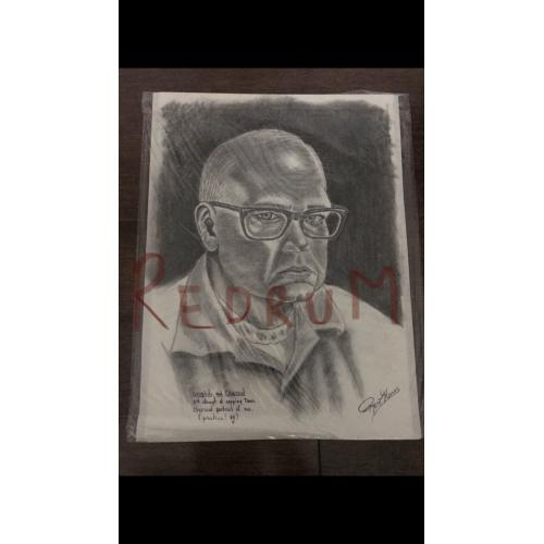 Roy L. Norris original 9 x 12 charcoal self portrait masterpiece signed done in late 1990's
