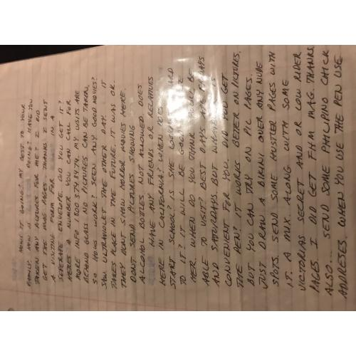 Richard Ramirez Handwritten 2 p. Letter from San Quentin from 2006