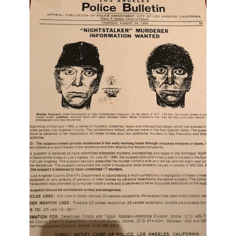 Richard Ramirez Night Stalker Los Angeles police bulletin from 1985