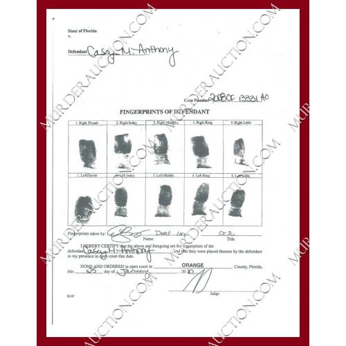 CASEY ANTHONY reproduction fingerprint chart 1/25/2010
