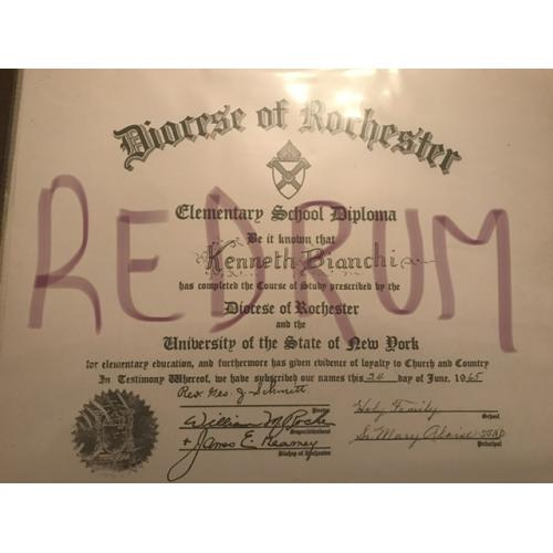 Kenneth Bianchi Hillside Strangler Elementry diploma from Dicese of Dorchester 1965