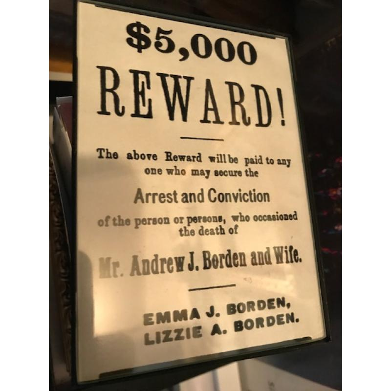 Lizzie Borden Reward poster 5000$ placed by her and her sister following the murders of her father and step mother 1892