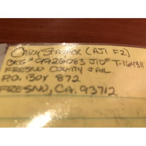 Cary Stayner 2p handwritten letter from Fresno County Jail from 1999
