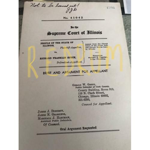 Richard Speck one-of-a-kind trial document Brief and argument for appelant used in court by James J. Doherty public defender from his estate