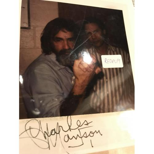 Deceased - Charles Manson Polaroid from Vacaville signed from 1995