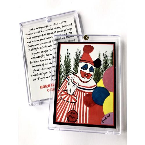 John Wayne Gacy * Pogo The Clown * Infamous Death Row Painting * True Crime Trading Card In Collector's Case