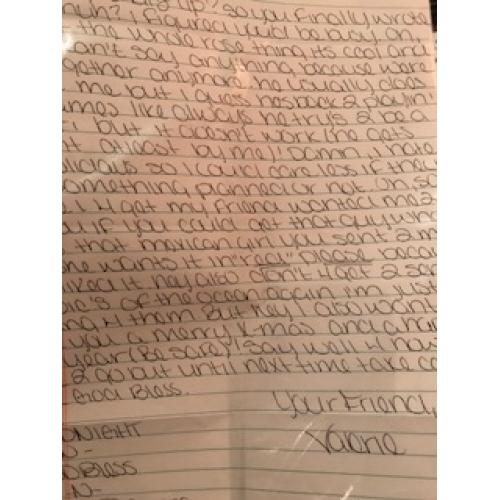 Valerie  Lopez handwritten letter from Dec 2007 signed your friend Valerie