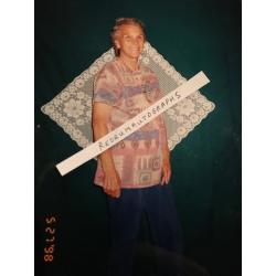 Deceased - Faye Copeland rare unpublished prison photograph standing with her crochet artwork from 1998