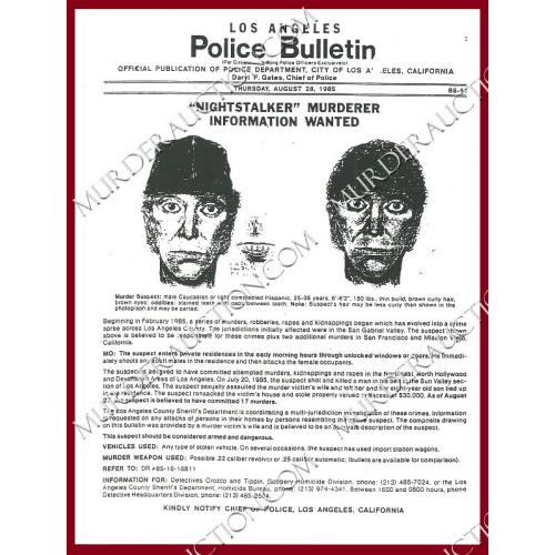 RICHARD RAMIREZ police issue wanted poster DECEASED