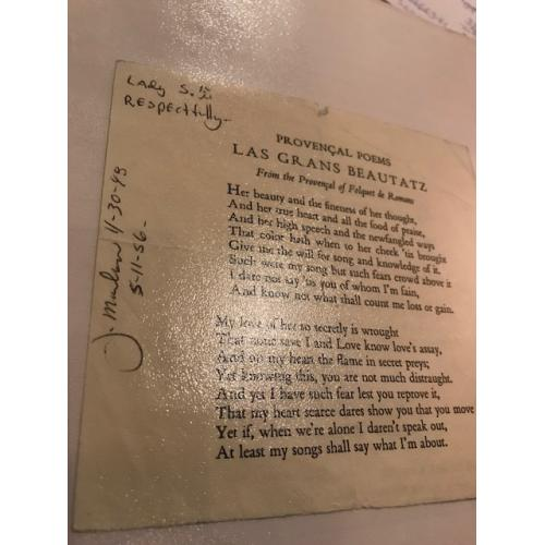 James Marlow handsigned Las Grand Beautatz poem signed J. Marlow