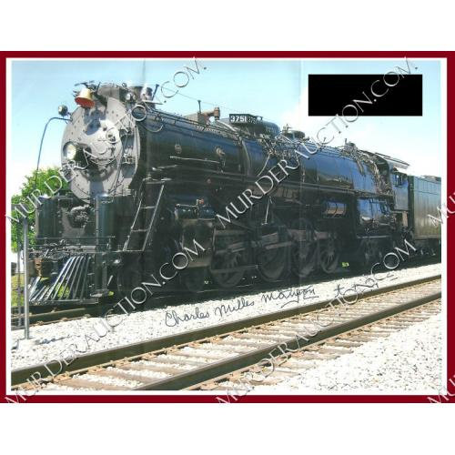CHARLES MANSON full signature train photograph 8.5×11 DECEASED