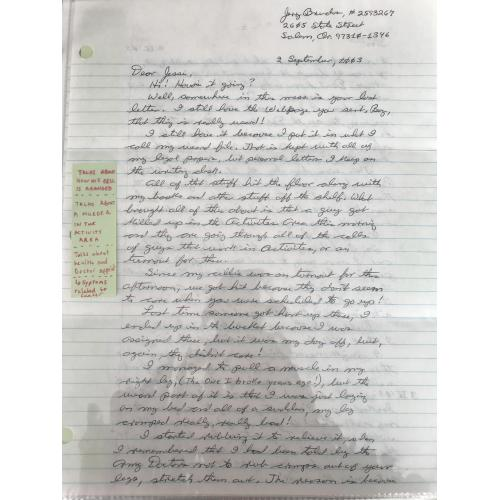 Jerome Brudos handwritten 4 pages letter with great content from 2003